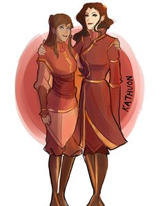 Korra and Asami in fire nation clothing - can you two please be best friends come on writers give us a good relationship between two female characters and stop it with the stupid love triangle drama it's about time dammit please thank you