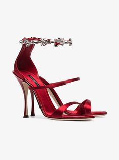 Shoes Dolce & Gabbana red 105 crystal embellished satin sandals Do It Yourself: An Attractive Rock G Stilettos, Stiletto Heels, Pumps, Bridal Heels, Beautiful High Heels, Dolce E Gabbana, Red High Heels, Red Sandals, Dress And Heels