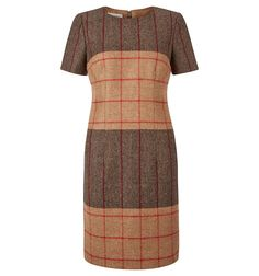 Buy Hobbs Wool Dublin Check Dress, Dark Camel/Multi from our Women's Dresses Offers range at John Lewis & Partners. Brown Maxi Dresses, Beige Dresses, Brown Dress, Casual Dresses, Dresses Dresses, Maxi Dress With Sleeves, Short Sleeve Dresses, Smart Dress, Check Dress