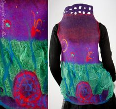 Felted fiber art vest silk and wool with snakes by ArianeMariane, €320.00