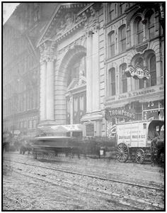 """On December 30, 1903, 602 people died when the Iroquois Theatre in Chicago caught fire and quickly became an inferno during a matinee showing of Mr. Bluebeard. 212 of those who died in this """"absolutely fireproof"""" building were children."""