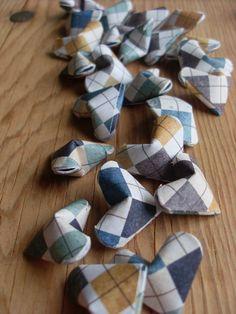 Argyle Origami Hearts, set of 24. Blue-Gray, Tan, Mustard, Green-Blue.