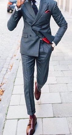 Mens Dark Gray Slim Fit Suit Double Breasted Tuxedo Suit Wedding Suit Custom - Tuxedo - Ideas of Tuxedo - Mens Dark Gray Slim Fit Suit Double Breasted Tuxedo Suit Wedding Suit Custom Grey Slim Fit Suit, Slim Fit Tuxedo, Costume Gris, Mode Costume, Black Tie Tuxedo, Tuxedo Suit, Mens Fashion Suits, Mens Suits, Double Breasted Tuxedo