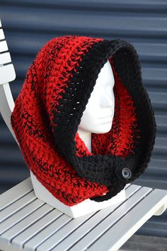 Crochet Large Hooded Cowl $4.99 pattern -- love the colors