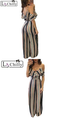 La Chilly Sexy Jumpsuit Multicolor Stripes Frill Cold Shoulder Jumpsuit  party Rompers women Casual 2017 women macacao feminino b36ce4d715b4