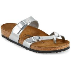 Birkenstock Mayari Metallic Sandals (€85) ❤ liked on Polyvore featuring shoes, sandals, silver, adjustable sandals, metallic shoes, rubber sole shoes, leather shoes and metallic leather sandals