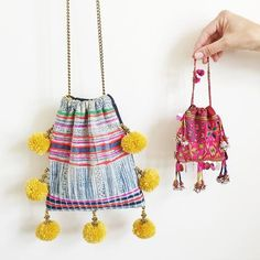 Sling with pom pom Ethnic Bag, Potli Bags, Boho Bags, Fabric Jewelry, Kids Bags, Cute Bags, Schmuck Design, Handmade Bags, Fabric Crafts