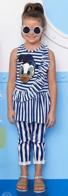 65ddc295bfd MONNALISA BIMBA Girls Blue Stripe Donald Duck Disney Dress Pants for Spring  Summer 2018. Super