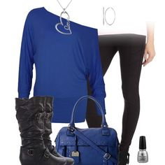 Dark royal blue oversized sweater with black pants leggings and black leather flat boots. Cute fall outfit.