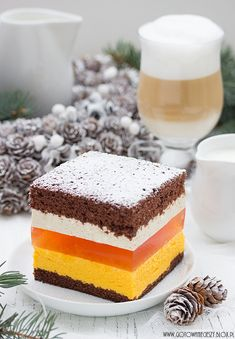 Ciasto pomarańczowo kawowe, beautiful layers of chocolate sponge cake and jello
