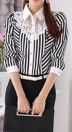 Turn-down Collar Long Sleeves Plus Size Striped Lace Patchwork Blouse