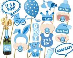 Baby Shower Photo Props It's a Boy Photo Booth por Instantgraffix
