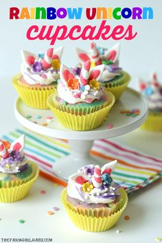 Rainbows and Unicorns collide to make these adorable Rainbow Unicorn Cupcakes. These magical cupcakes are perfect to serve at your next party. Unicorn Cupcakes, Birthday Cupcakes, Cupcake Recipes, Dessert Recipes, Desserts, Cookbook Recipes, Dessert Ideas, Unicorn Foods, How To Make Frosting