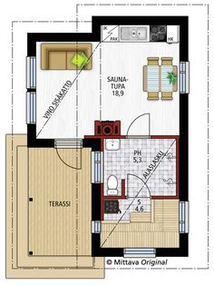 Huvilapaketti Silvia 30 | Mittava Koti Tiny House, 30th, Floor Plans, Cabin, Cabins, Tiny Houses, Cottage, Wooden Houses, Floor Plan Drawing