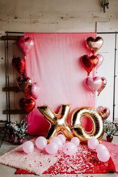 Type-1 Easy Joy Deco Mariage Ballon Rouge Papier Rosace Confettis Coeur Saint Valentin Decoration Kit