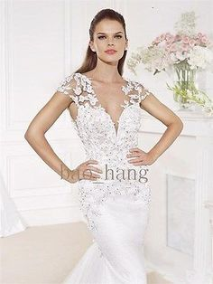 2014-Fall-Charming-Lace-V-Neck-Short-Sleeves-Mermiad-Bridal-Wedding-Dress-Gown