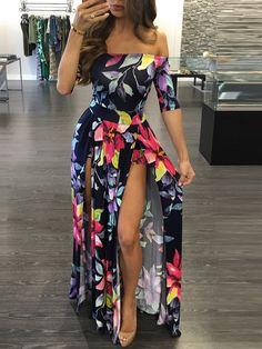 High Slit Off Shoulder Floral Maxi Dress