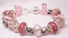 Image Detail for - Breast Cancer Jewelry, Pink Ribbon Bracelet, Pandora style beads ...