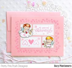 I was recently visiting my mother and she gave me her wonderful collection of Valentine ephemera. I love vintage cupids and this little Cupid Friends stamp set remin… Valentine Day Cards, Valentines, Pretty Pink Posh, Die Cut Cards, Diy Cards, Handmade Cards, Cupid, Friends In Love, Give It To Me