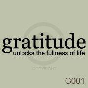 Gratitude Unlocks The Fullness Of Life Wall Art Vinyl Decal Sticker Quote