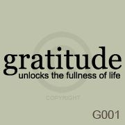 Gratitude Unlocks The Fullness Of Life Wall Art Vinyl Decal Sticker Quote