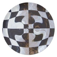 Black and White Checkerboard Distorted Plate