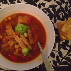 Vegetarian crock pot soup, complete with homemade tortilla strips!