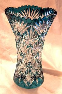 Beautiful Teal Vase --Cut -- Cased Crystal -- Made by Caesar Crystal Bohemia