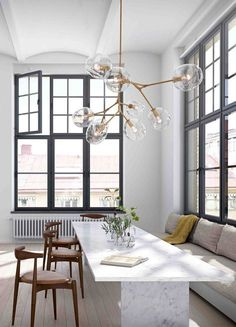 Dining room inspiration: Today we are going to present you the best dining room lighting ideas for your mid-century modern house. Today we are going to present you the best dining room lighting ideas for your mid-century modern house. Dining Room Inspiration, Interior Inspiration, Inspiration Design, Design Ideas, Design Trends, Bubble Chandelier, Chandelier Lighting, Branch Chandelier, Dining Chandelier