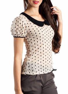 lace polka dot blouse