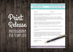 Print Release Form Template Contract by on Creative Market Photography Contract, Photography Mini Sessions, Photography Business, Light Photography, Photography Tutorials, Photo Sessions, Photography Tips, Print Release, Photo Tips