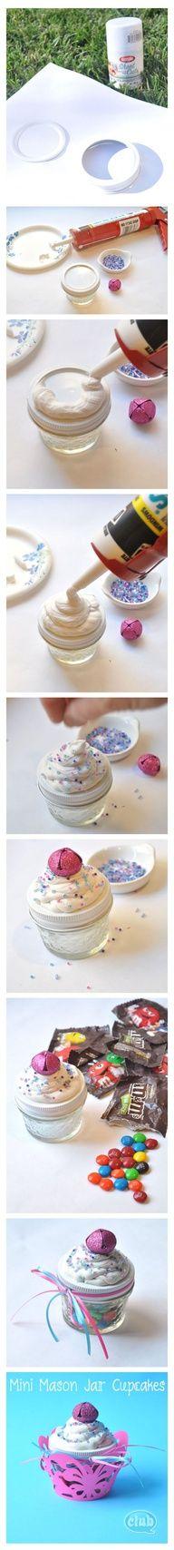 Mini Mason Jar Candy Cupcakes DIY craft using caulk and beads.