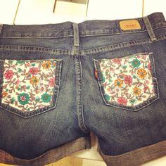 DIY jean short pockets. So cute!