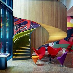 color and curvy stairs