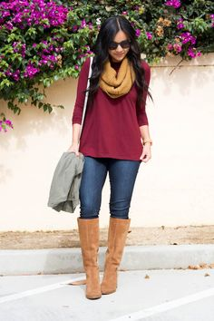 Maroon Tunic and Scarf Outfit