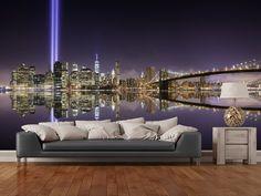 New York - Tribute Lights Brooklyn Bridge wall mural room setting