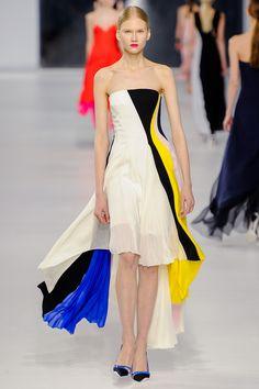 Dior Resort 2014. spring dress. pleated. high low skirt. color blocking. #dior #resort 2014