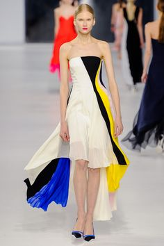 Dior Resort 2014. spring dress. pleated. high low skirt. color blocking. #dior #resort 2014