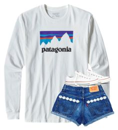 """Untitled #2438"" by laurenatria11 ❤ liked on Polyvore featuring Patagonia and Converse"