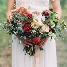 Wedding Bouquet Recipe ~ A Just-Picked Bouquet of Summer Blooms in Marsala