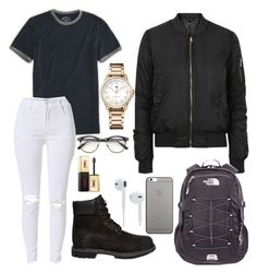 """Untitled #182"" by kingrabia on Polyvore featuring Topshop, American Eagle Outfitters, Timberland, Tommy Hilfiger, The North Face, ZeroUV, Native Union and Yves Saint Laurent"