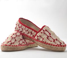Espadrillas in handwoven fabric. 100% cotton. Lontra Red.