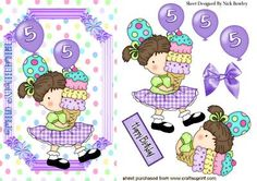 sweet birthday girl aged 5 with balloons on Craftsuprint - Add To Basket!