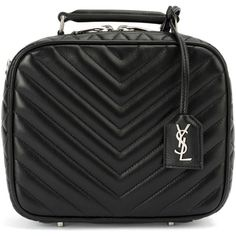 Saint Laurent quilted lunchbox bag ($2,420) ❤ liked on Polyvore featuring bags, handbags, black, real leather handbags, quilted chain handbag, yves saint laurent purses, zip purse and quilted handbags