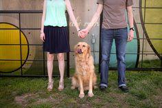 couple holding hands with dog - photo shoot ~ brad & kathryne engagement portraits