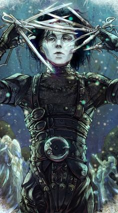 Awesome Art We've Found Around The Net: Edward Scissorhands, Shaun Of The Dead, Sons Of Anarchy, Taxi Driver Estilo Tim Burton, Tim Burton Art, Tim Burton Style, Tim Burton Films, Scissors Hand, Johny Depp, Thats All Folks, Dark And Twisted, Edward Scissorhands