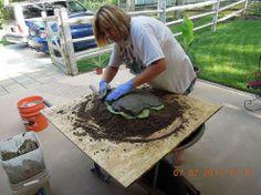Making bird baths & garden art out of concrete & leaves :: Hometalk