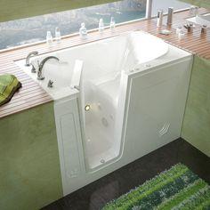MediTub 3054LWH Walk In 30 X 54 Left Drain White Whirlpool Jetted Walk In  Bathtub
