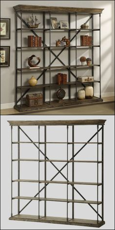 This eye catching combination of cool wrought iron and warm weathered wood makes this striking bookcase exude an industrial vibe. It also features antique brown metal bars for support, X brace on the backside, five shelves, distressed corbin medium brown finish and architectural molding for a striking design. Dimensions: Overall: 86.5 inches H x 84 inches W x 17 inches D. Product Weight: 155 lbs.