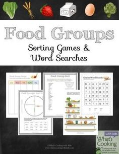 Food Groups: Sorting Games and Word Search Puzzles to teach kids about Nutrition and Healthy Eating Habits
